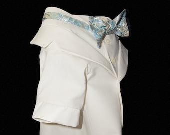 Casablanca, Formal Dog Tuxedo, Creme Linen Suiting,  Off White Shirt, Brocade Bow Tie,  Lined,  Custom, Weddings, Parties, Formal, Photos
