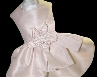 Skye, Dog Bridesmaid/Flower Girl Dress, Couture Design in Lined Off-White Dupioni Silk, Silk Fabric Flower, Wedding, Parties, Events
