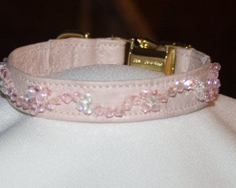 Royal Perlé,  Pet Collar, Pink Italian Lambskin, Hand-Beaded Swarovski Crystals, Brass Side-Release and D-Ring, Wedding, Formal, Photo Shoot