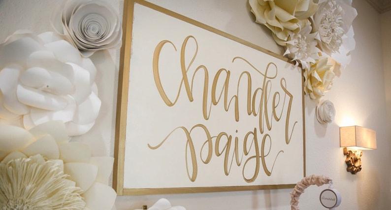 LARGE Girl Nursery Name Sign  Wall Decor  Boho Shabby Chic image 0