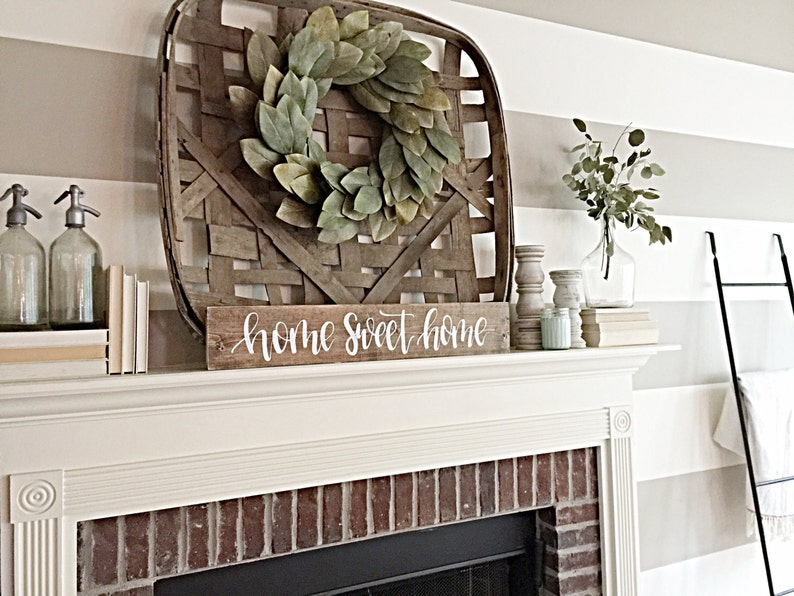 Home Sweet Home Sign  Rustic Home Decor  Fireplace Decor  image 0