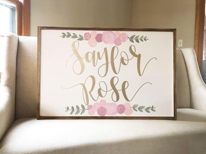 Superb Nursery Name Sign Girl Little Girl Bedroom Decor Flower | Etsy
