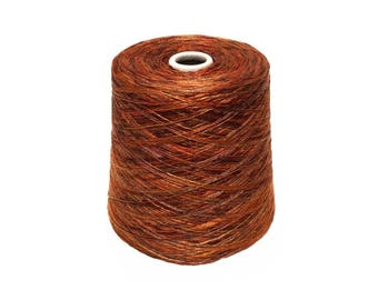 Brown Space Dye Rayon Slub Yarn, Sport weight.  2.3 LBS. Cone KNITTING - WEAVING - Crochet