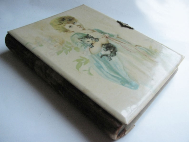 possibly Brundage Victorian Celluloid Photo Album depicting an Adorable Girl holding Her Kitten