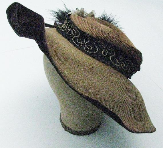 Vintage Straw and Purple Velvet Purple Hat