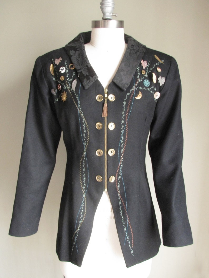 Vintage 1990s Michael Radyk Black JacketBlazer with Embroidery Stitching including Button and Brass Adornments