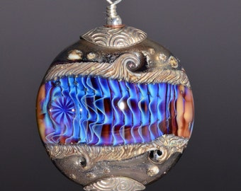 Silver Capped Glass Bead