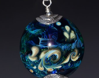 Silver Capped Glass Bead Pendant