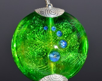 Silver Capped  Glass Pendant