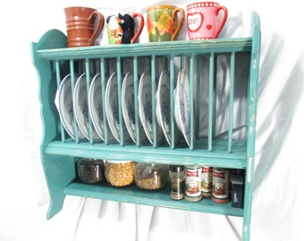 Kitchen Organizer Plate Rack Hanging \u0026 Free-Standing ~ Painted  sc 1 st  Etsy & Yellow plate rack | Etsy