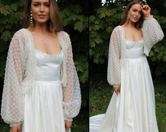 Luxury beaded wedding shrug / premium bridal gown topper / sparkling bride shrug cape / pearl bead decorative modern art deco tulle