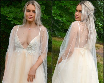 Long wedding cape / pearl on tulle mesh / Sheer cape cover-up for bride, mother of the bride / bridal cape / with or without arm holes /VERA