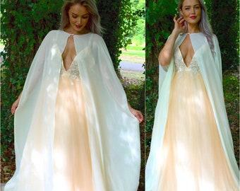 Ready to Ship / Long bridal cape / sheer chiffon wedding jacket / wedding dress topper / modern boho bride / mother of the bride groom Frida