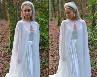 Long bridal cape / sheer chiffon wedding jacket /wedding dress topper / modern boho bride / mother of the bride groom / modest wedding IRIS