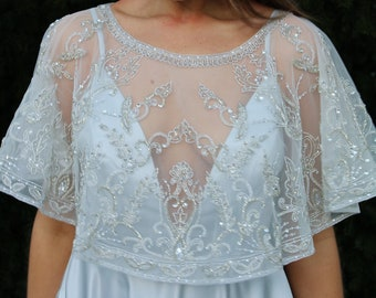 Luxury beaded wedding cape / premium bridal gown topper / sparkling bride shrug capelet / silver rose gold decorative modern art deco tulle