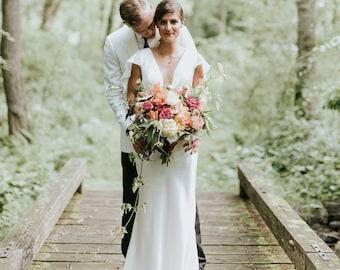 Alternative bridal gown / unique boho bride / summer wedding dress / plunging light flutter sleeves / bohemian easy bride wedding / Bianca