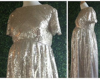 Custom made maternity 'Hannah' dress. Full sequin scoop neck front and back, empire waist, gathered skirt with sleeves. Modest bridesmaid