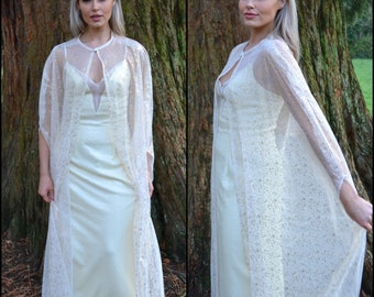 Ready to Ship / Long bridal cape / sheer tulle cape with gold metallic pattern / wedding dress topper / modern boho bride / elopement