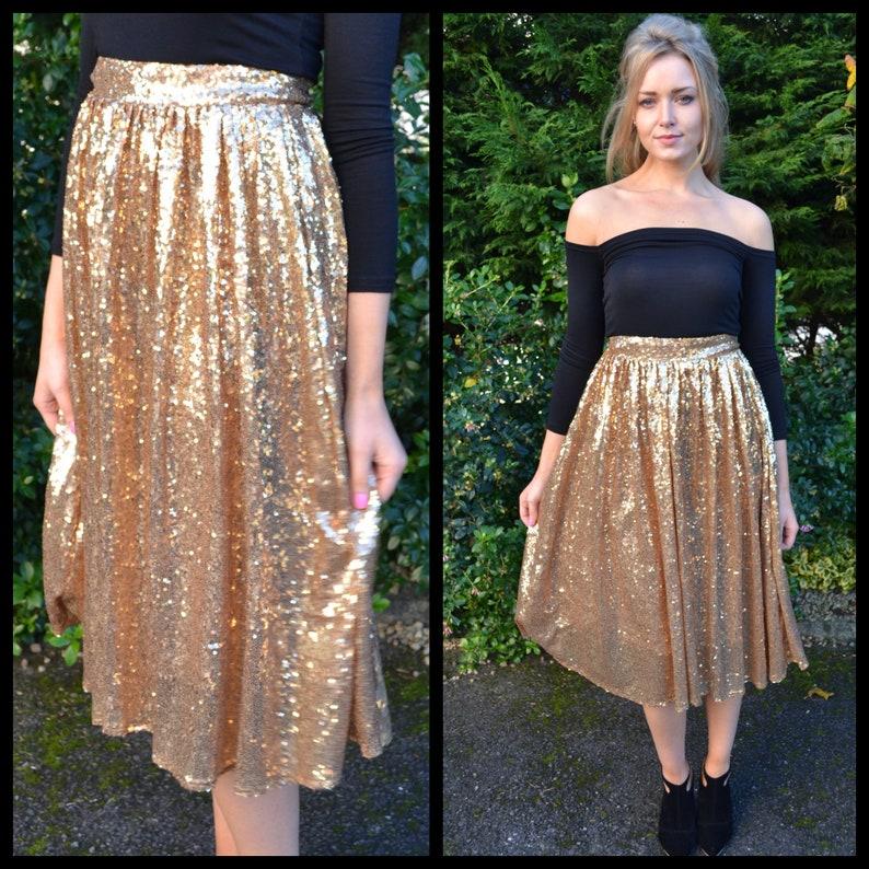 f0ba2a386c Sequin midi knee length skirt / volume sparkle skirt / gold | Etsy