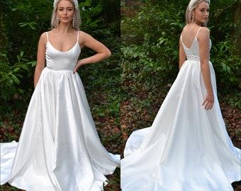 Simple modern bridal gown / wedding dress / elegant bride / classic shape scoop neckline spaghetti straps / satin royal wedding / SADIE