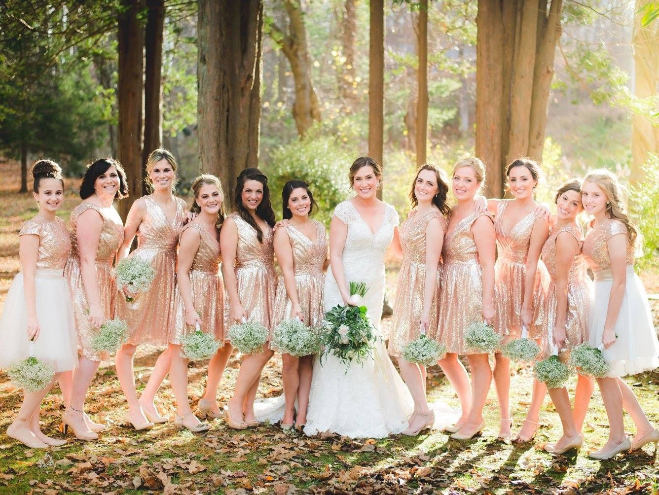 76dbb78ebbd Short Sequin Bridesmaids Dress   Rose Gold Sequin Bridesmaids