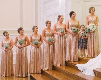 Rose gold bridesmaid dress / 'Rosie' / Sequin bridesmaid dress / Wedding party / Blush bridesmaids / Flattering sparkle / All Sizes
