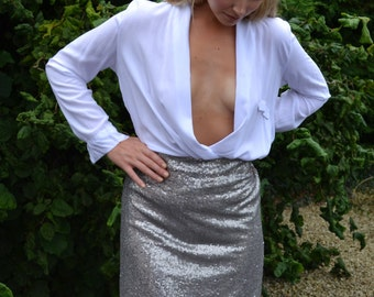 Custom made 'Middie' mid-length straight skirt. Sequins or satin, choice of color. Casual glamour street or evening style, sparkly separates