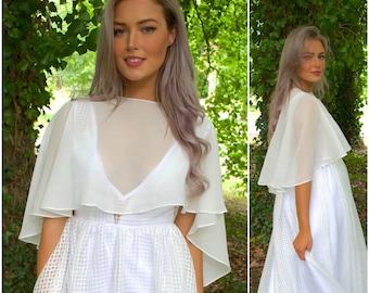 Ready to Ship / Asymmetric short bridal cape / sheer chiffon wedding jacket / wedding dress topper / modern boho bride / modest vintage Irma