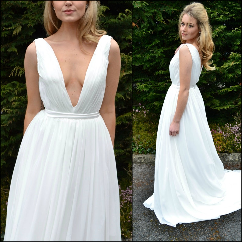 4084fe383d Plunging bridal gown   backless wedding dress   plunging