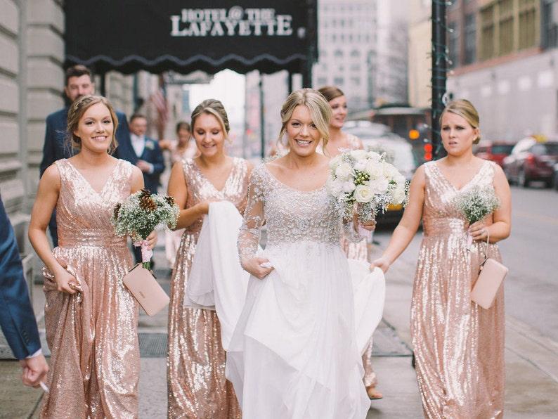 1210f821c Rose gold bridesmaid dress / 'Rosie' / Sequin | Etsy