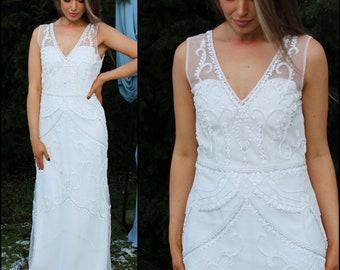 Elegant beaded bridal gown / Vintage inspired Gatsby embellished / v neck sleeveless slink gown / sheath dress / modern boho bride