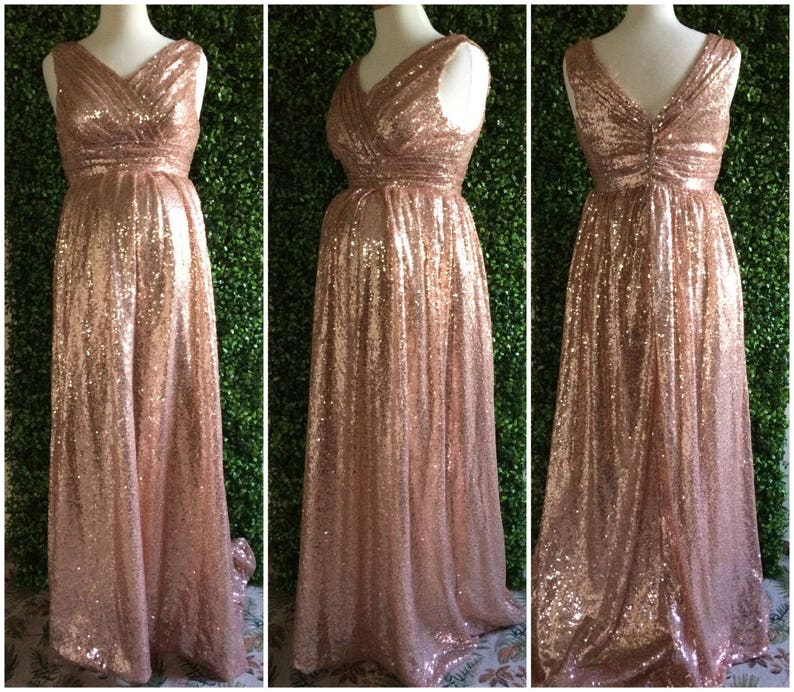 55af8f5354f Sequin maternity bridesmaid dress   Rose gold sequin