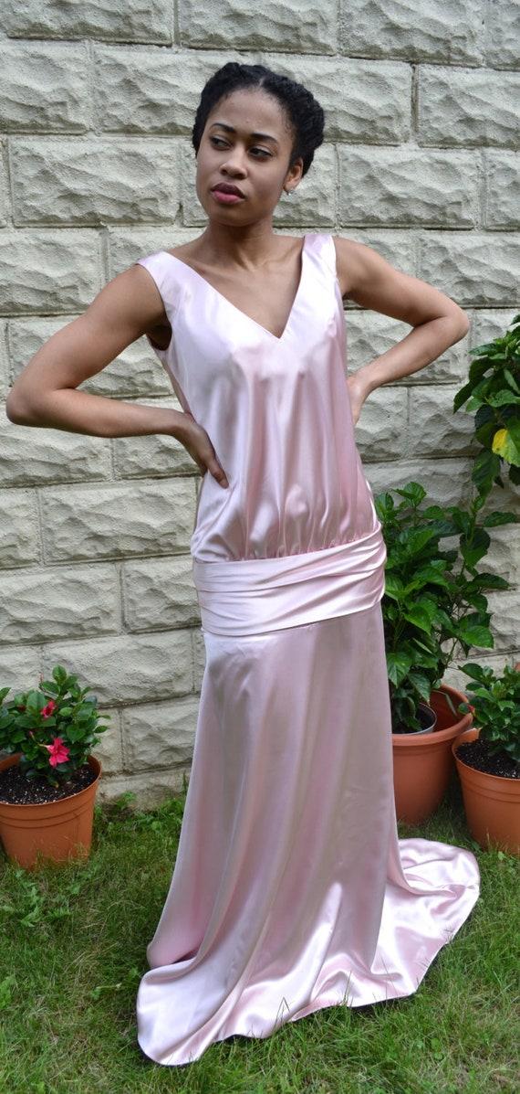 95bd03ad614f0 Vintage inspired drop-waist formal gown   modest vintage