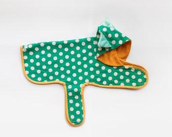 SMALL/MEDIUM Dinosaur Dog Jacket - Green & Orange Polkadots