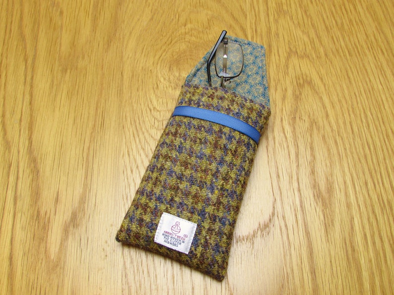Blue Gold Houndstooth Harris Tweed Glasses  Spectacles Case