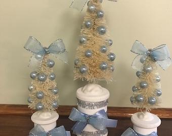 christmas decorations christmas bottle brush trees christmas decor christmas display christmas vignette blue christmas decor blue christmas - Blue Grey Christmas Decorations