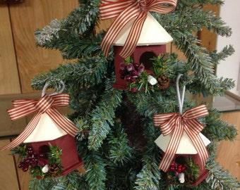 victorian country christmas ornament birdhouse ornanment wood ornament country christmas birdhouse gift idea rustic ornament farmhouse decor