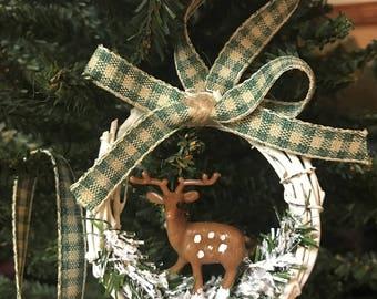 Christmas Ornaments Deer Ornaments Rustic Christmas Ornaments Woodland Ornaments Handmade Christmas Ornaments Grapevine Wreath Ornaments