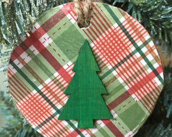 Christmas ornaments Birch Wood Ornaments Country Christmas Ornaments Woodland Christmas Ornaments Rustic Ornaments Plaid Ornaments