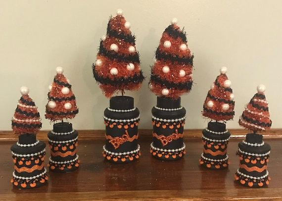Halloween décoration Halloween bouteille brosse arbres Orange et noir Halloween Decor Halloween Sisal arbre Halloween affichage Halloween Vignette