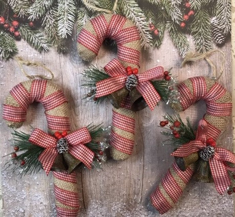 Candy Cane Ornaments Christmas Ornaments Country Candy Canes Country Christmas Ornaments Rustic Christmas Ornaments Burlap Candy Canes