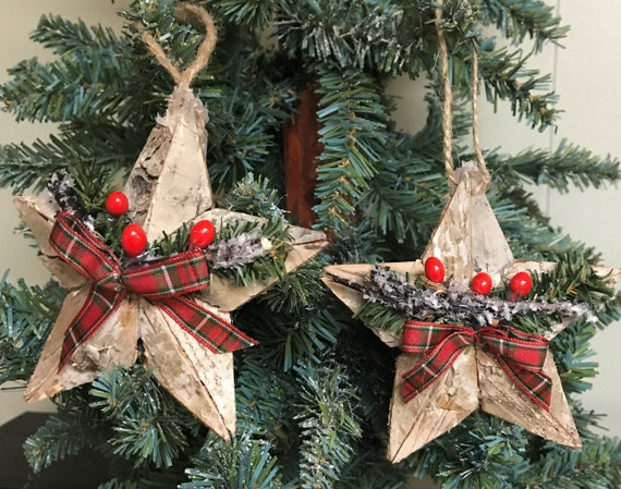 Country Christmas Decorations.Country Christmas Ornaments Rustic Christmas Ornaments Woodland Christmas Ornaments Star Ornaments Primitive Christmas Ornaments