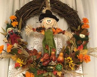 Scarecrow Wreath Fall Wreath Autumn Wreath Harvest Wreath Scarecrow Decorations Autumn Decorations Fall Decorations Scarecrows