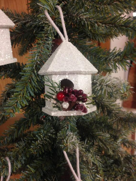image 0 - Birdhouse Christmas Ornament White Christmas Ornament Shabby Etsy