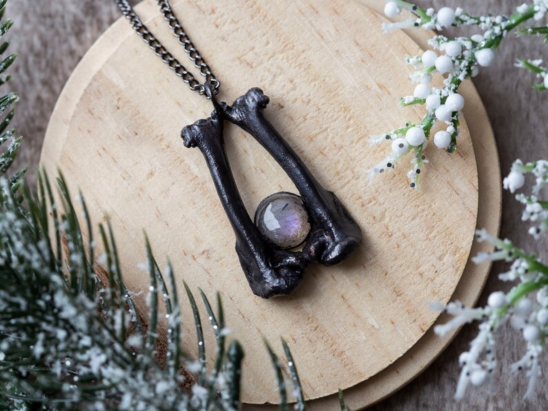 Winter Air IV // Labradorite, Purple Labradorite, Handmade Necklace,  Witchy, Amulet, Bone Jewelry, Metaphysical, Crystals, Electroformed