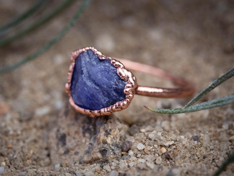 Birthstone Tanzanite IV  Handmade Ring Purple Stone Raw Stone Electroformed Metaphysical Stacker Ring