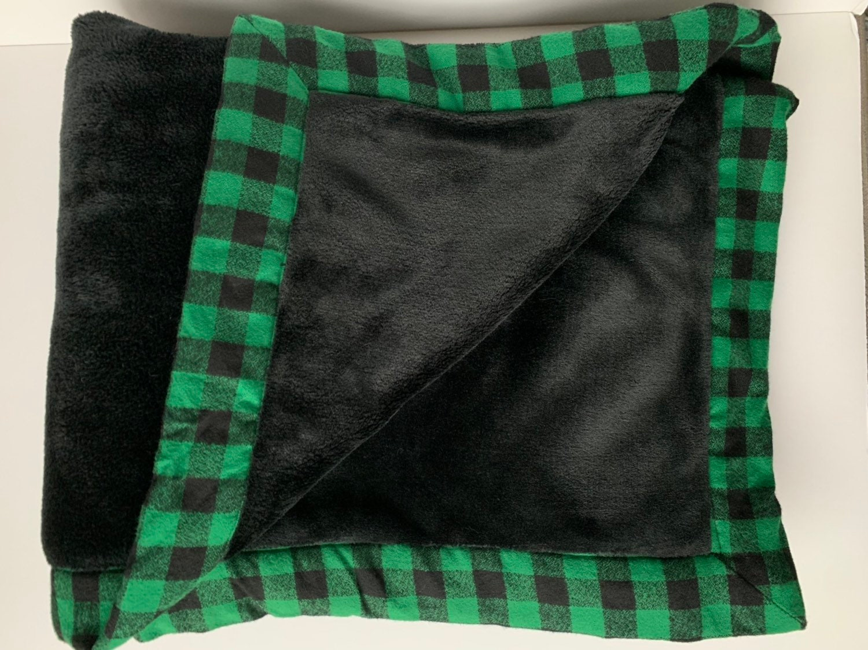 Minky avec Buffalo Check Throw - Southlake Dragon Blanket - Green Check Throw - Couverture surdimensionnée avec logo - Cadeau de pendaison de maison CISD