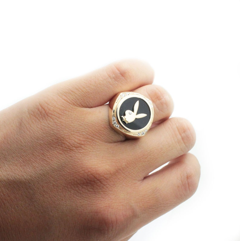 fe93acd0c 14k yellow gold playboy ring 0.2ct diamomd   Etsy