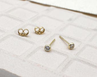 Tiny Earrings 14K Yellow Gold 2.8mm Bezel cz lab created diamond pair of earrings for sale