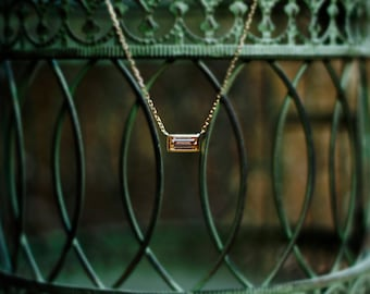 14k gold Champagne baguette cubic zirconia necklace